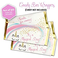 Unicorn candy bar wrappers - Set of 20 - Gold foil included - Girl Birthday Party - Baby Shower