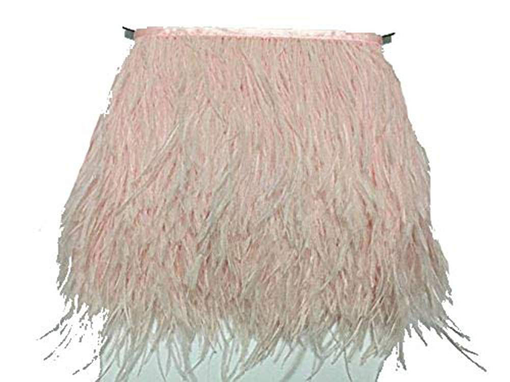 Pink MELADY 2 Yards Fashion Dress Sewing Crafts Costumes Decoration Ostrich Feathers Trims Fringe with Satin Ribbon Tape