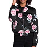 Morecome Womens Black Casual Print Zipper Vintage Jacket Coat