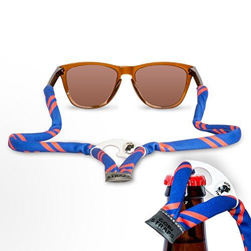 Sunglass Straps by Gobi Straps – Built-In Bottle Opener – Sunglass Retainers – Sunglass Lanyard -- Sunglass Cord – Quick Dry (Blue & - Orange Croakies