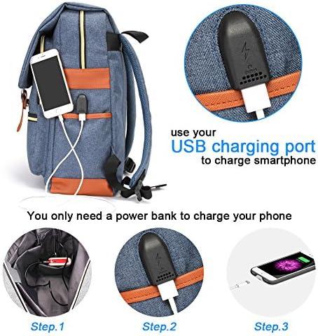 Modoker Vintage Laptop Backpack School College Bag Bookbags for Women Men,Travel Laptop Backpack with USB Charging Port Fashion Backpack Rucksack Fits 15.6 inch Notebook (Blue)