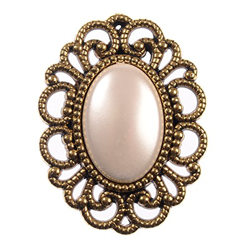 ABS Metal Plated Brooch Pin - Antique Gold Oval Filigree with Pearlized Cabochon Center