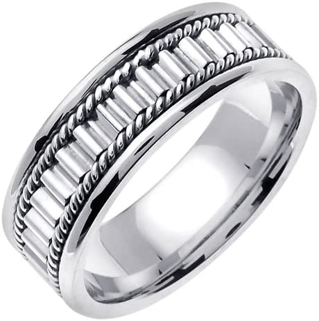 Solid 925 Sterling Silver 7mm Design Edge Wedding Band