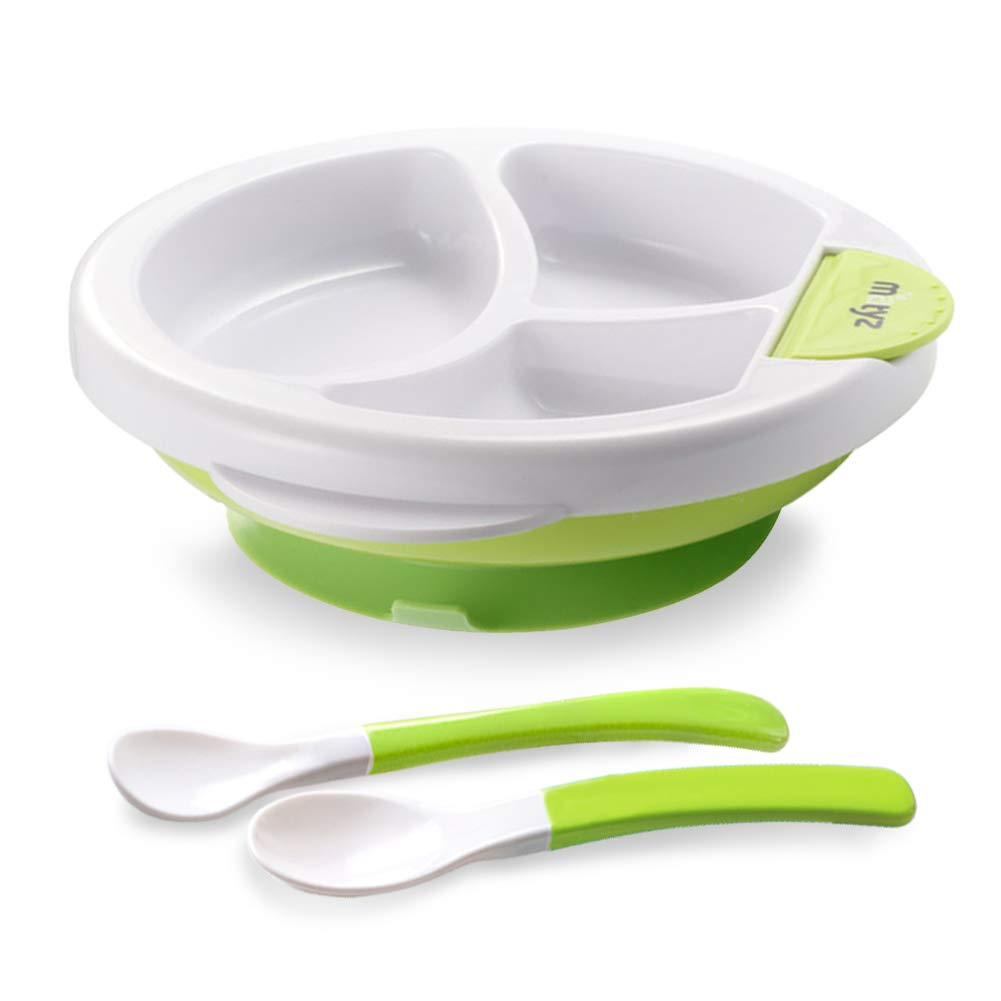 Matyz Baby Feeding Suction Warm Plate with Draining and Drying Design - Stay Put Divided Plate for Kids - Toddler Plate with Spoons - Microwave & Dishwasher Safe (Green)