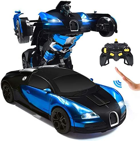 Amazon Com Rc Cars Robot For Kids Remote Control Car Transformrobot Toys For Boys Girls Age Of 6 7 8 16 Year Old Gifts One Button Transforms Into Robot With Led Light Intelligent Vehicle Blue Toys