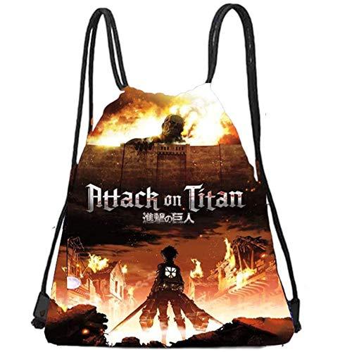 Attack on Titan Set Gift Set - Including Drawstring Bag Backpack, Attack on Titan Stickers, Attack on Titan M-asks, Lanyard, Keychains, Bracelets, Button Pins