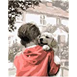 "Pintura de aceite para adultos Pintada a mano de bricolaje Pintura por números Kits Paint-Little boy and dog 16""x20"" (Sin marco)"