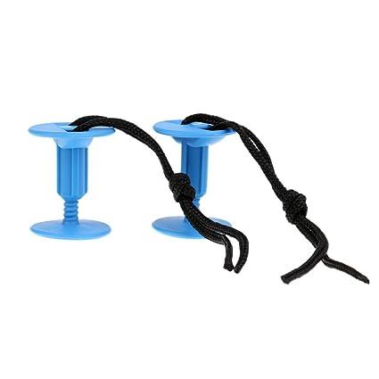 MagiDeal 2X Hebilla para Tabla de Surf Bodyboard Leash Plugs - Azul