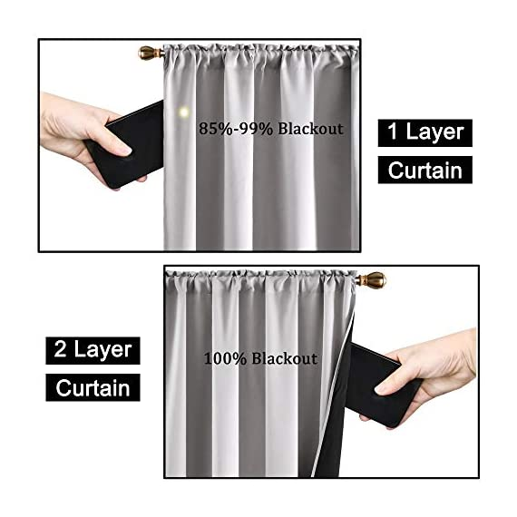 """SUOCAI 100 Blackout Curtains with Black Liners - Solid Thermal Insulated Full Blackout 2-Layer Lined Drapes - Energy Efficiency Window Draperies for Bedroom (2 Panels 42 by 84 Inch Light Grey) - READY MADE: 2 panels per package. Each Blackout Curtain Panel measures 42 inches wide x 84 inches long. 3"""" rod pocket top fits most standard rods.Multiple colors & sizes are available. 100% BLACKOUT: Innovated with high technology,they are the best blackout curtains on the market. These magic window curtains with black liner backing makes the drapes thick enough to completely keep out the 100% SUNLIGHT and UV RAY.Give you a real dark environment, bringing you a good night's sleep during the day. FUNCTIONS:Super Heavy Blackout Lined Curtain Panels can be a good sense of drape,the effect of SOUNDPROOF & THERMAL INSULATED is 2 times higher than the ordinary 1-layer of curtains. - living-room-soft-furnishings, living-room, draperies-curtains-shades - 51Qda6Sz%2BXL. SS570  -"""
