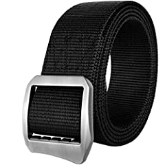 Drizzte Plus Size 47-75'' Long Nylon Military Tactical Web Belt Metal Buckle Black Made of real polyamides nylon, solid metal buckle, durable, wear resistant.Trendy fashion design, fit most of your daily occasion. work, travel, meeting, gathe...