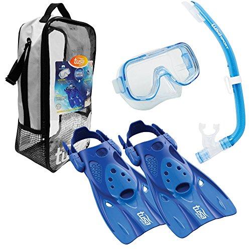 TUSA Sport Youth Mini-Kleio Hyperdry Mask, Snorkel, Fin Travel Set, Blue, Small
