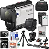 Sony Action Cam HDR-AS300R Wi-Fi HD Video Camera Camcorder, Live Remote & Tilt Adapter + Helmet Mounts + 64GB Card + Battery & Charger + Case + Tripod Kit