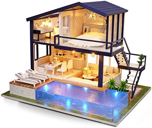 Dollhouse MiniatureFurniture DIY Wooden Doll House Kit Plus dust Cover and Music Movement 1:24 Scale Creative Room Idea Best Gift for Children Friend Lover (Time Apartment) / Dollhouse MiniatureFurniture DIY Wooden Doll House Kit P...