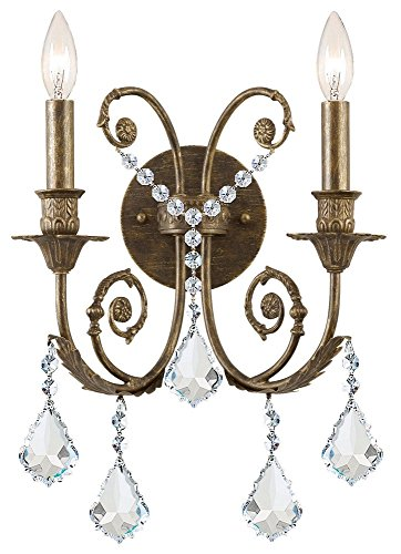 Traditional Classic 2 Light Crystal Candle Wall Sconce in English Bronze Crystal Type: Clear Majestic Wood (Majestic 2 Light Sconce)