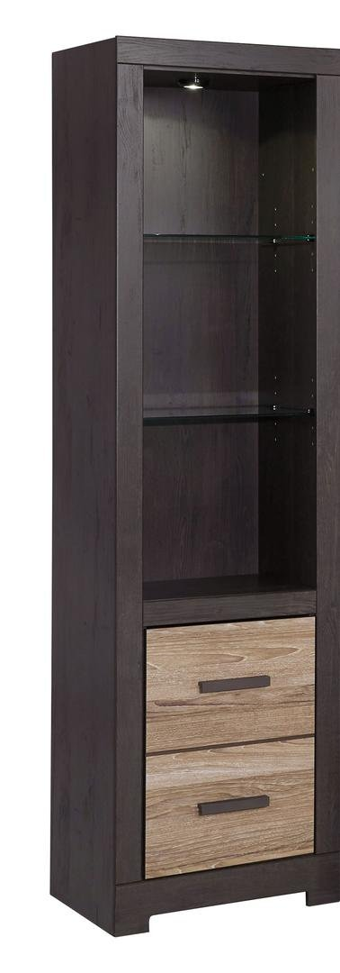 Ashley Furniture Signature Design - Harlinton Tall Pier - 2 Drawers and 2 Adjustable Glass Shelves - Warm Gray