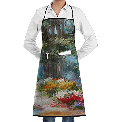 SmallTing Oil Painting Landscape Colorful Forest Funny Grilling Black One Size Apron With Pockets Adjustable ()