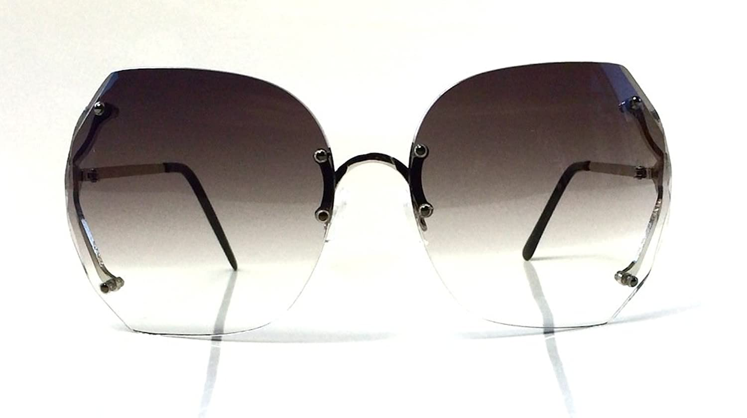 70's Vintage Rimless Square Oversized Large Lenses Women Sunglasses (Grey Gunmetal)