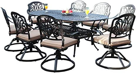 GrandPatioFurniture.com CBM Patio Elisabeth Cast Aluminum 9 Piece Dining Set