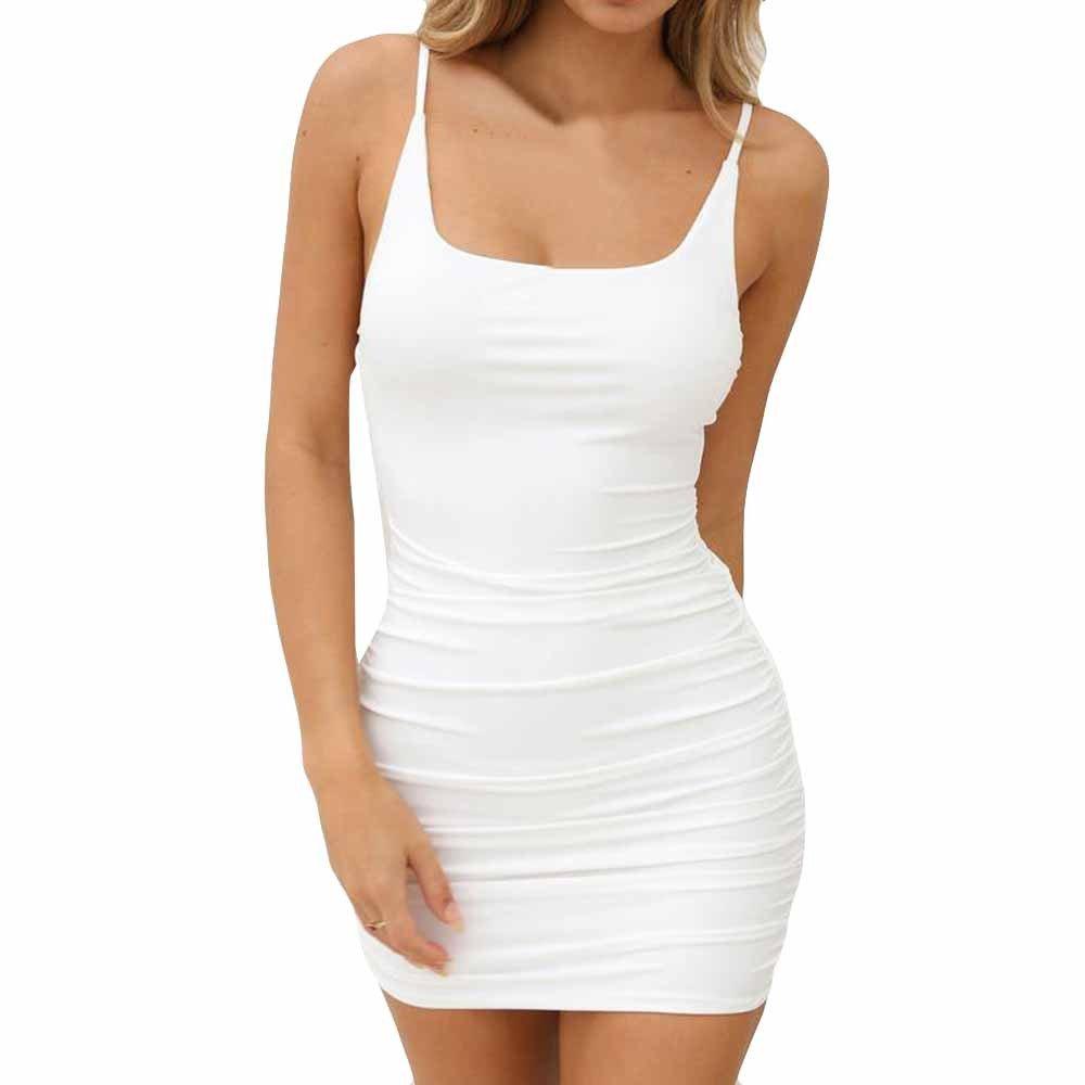 iLUGU O-Neck Sleeveless Mini Dress For Women Backless Package Hip Blue Dress