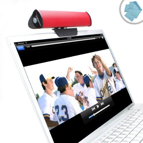 f3c9d0e23d5 GOgroove SonaVERSE USB Laptop Clip On Speaker (Red) w/ USB Plug-n-Play Sound  Bar Design for Netbooks, Notebooks, Ultrabooks