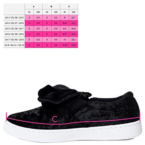 SPYLOVEBUY GEORGIE Femmes Plates Baskets basses Sneakers Avec l'arc Noir - HSQCkmss