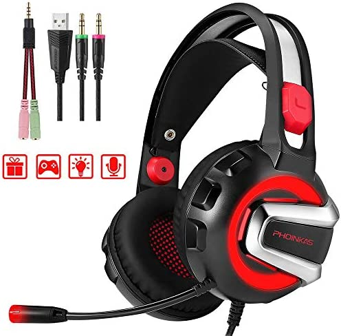 PHOINIKAS H4 Wired Stereo Gaming Headset for Xbox One,PS4, PC, Laptop, Nintendo Switch Games,Over Ear PC Gaming Headphones with Mic, Surround Sound, Noise Isolation, Volume Control,Led Light Red