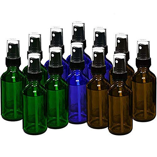 15ml (0.5oz) Empty Glass Spray Bottles (12 pack) - Refillable Containers with Black Fine Mist Sprayer for Essential Oils, Cleaning, Room Sprays (4 Each - Green, Amber, Blue) by THETIS ()