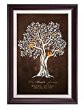 DecorArts -''Family Tree'' - Personalized canvas prints Artwork, includes family members Names, Perfect Gift for Anniversary, Wedding, Birthday or family reunion celebration. Framed size: 34'' x 24''