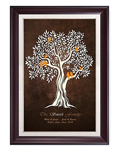 DecorArts -''Family Tree'' - Personalized canvas prints Artwork, includes family members Names, Perfect Gift for Anniversary, Wedding, Birthday or family reunion celebration. Framed size: 34'' x 24'' by DECORARTS