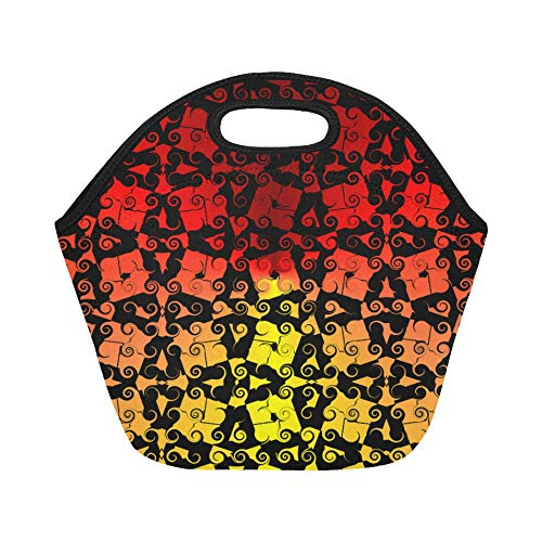 Insulated Neoprene Lunch Bag Swirl Pattern Black Red Yellow Wave Large Size Reusable Thermal Thick Lunch Tote Bags For Lunch Boxes For Outdoors,work, Office, School ()