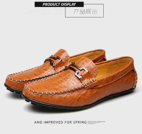 Gaorui mens moccasins faux leather buckle slip on driving loafers office deck business formal casual shoes Blue N4eSFBKFUP