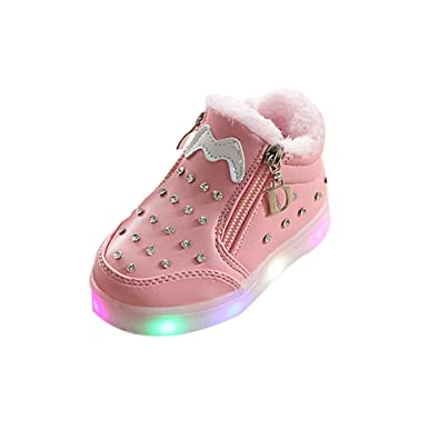 1abb892ab DEESEE(TM) Baby Shoes Winter Children Slippers Unisex Baby Zip Crystal LED  Light Up