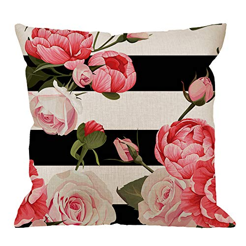 (HGOD DESIGNS Flower Throw Pillow Cushion Cover,Peony Roses Pattern Cotton Linen Polyester Decorative Home Decor Sofa Couch Desk Chair Bedroom 18x18inch Square Throw Pillow Case,Pink)