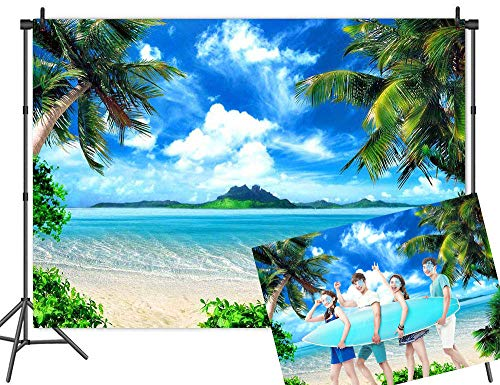 Beach Themed Photo Backdrops (Qian 7x5ft Vinyl Beach Themed Photography Backdrops Ocean Tropical Coconut Palm Tree Blue Sky Sea Sand Photo Studio Props Wedding Party Decoration)