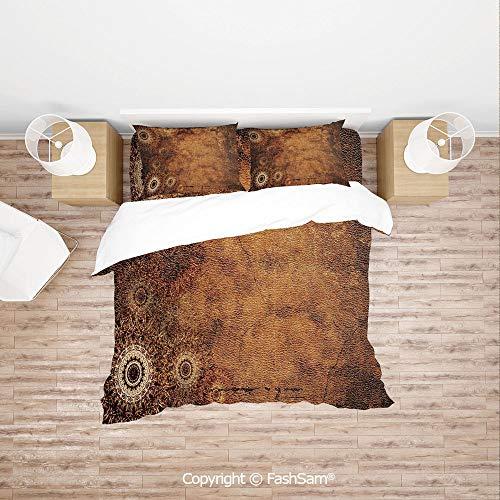 (FashSam Duvet Cover 4 Pcs Comforter Cover Set Aged Old Texture Print Artistic Floral Motifs Vintage Upholstery Concept for Boys Grils Kids(Single))
