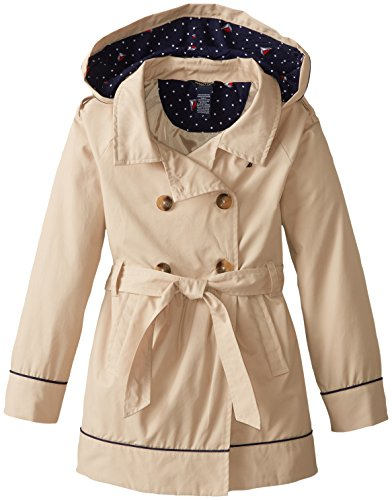 Nautica Big Girls' Belted Trench Coat, Tan, 8
