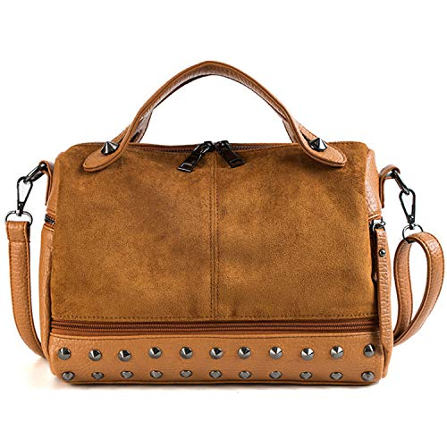 Women Vintage Rivets Money Large Capacity PU Leather Tote Zipper Single Shoulder Gift Crossbody Bag Fashion Girls Solid Party