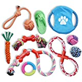 Team Howard 10 Pack Dog Toys – Dog Rope Toys – Best Chew Toys for Teething Puppy – Teething Toy for Small, Medium, & Large Dogs – Super Durable Rope Chew Toys with Cotton Ball