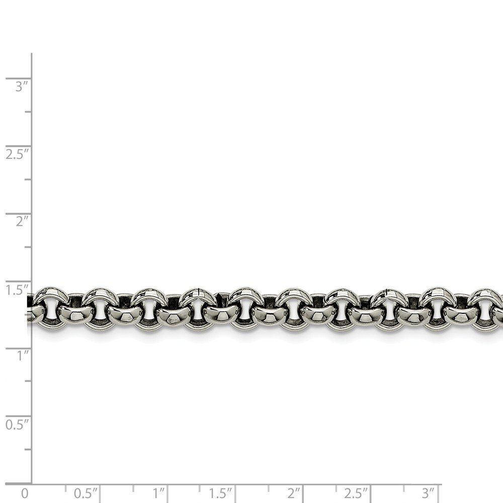 ICE CARATS Stainless Steel 8mm Rolo Chain Necklace 18 Inch Pendant Charm Fashion Jewelry Gifts for Women for Her