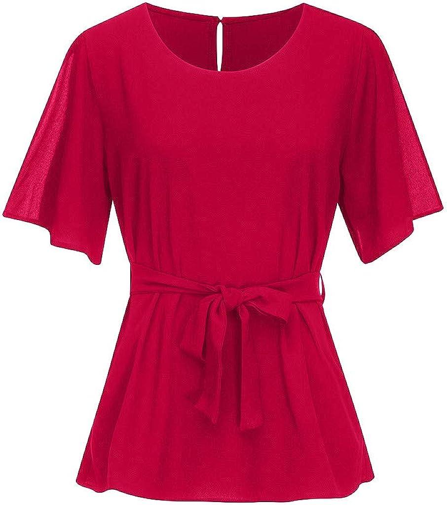 LISTHA Peplum Belt Tops Summer Plus Size Blouse Women Short Sleeve T Shirt Knot