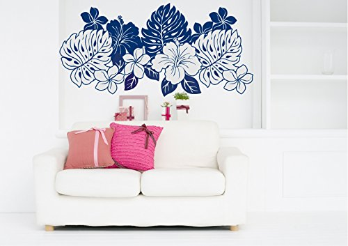 Tropical Hibiscus and Plumeria Flowers Silhouette Vinyl Wall Decal Sticker Graphic