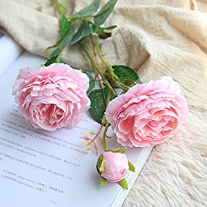 Rm.Baby 1Pcs Artificial Fake Flowers Rose Peony Floral Real Touch Cloth Material Arrangement Bouquets Bridal Hydrangea Home Garden Decor Room Office Centerpiece Party Wedding Decor 10