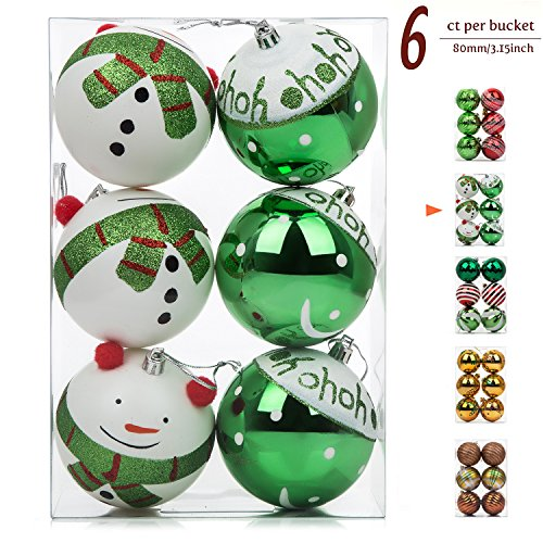 """iPEGTOP 6ct 80mm / 3.2"""" Shatterproof Christmas Ball Ornaments, Green Hand-Painted Lovely Snowman for Crafting Party Decorations"""
