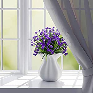 HOONAO 4pcs Artificial Fake Flowers,Faux Purple Daffodils Outdoor Greenery Plants Shrubs Plastic Bushes Indoor Outside Hanging Planter Home Garden Decoration 4