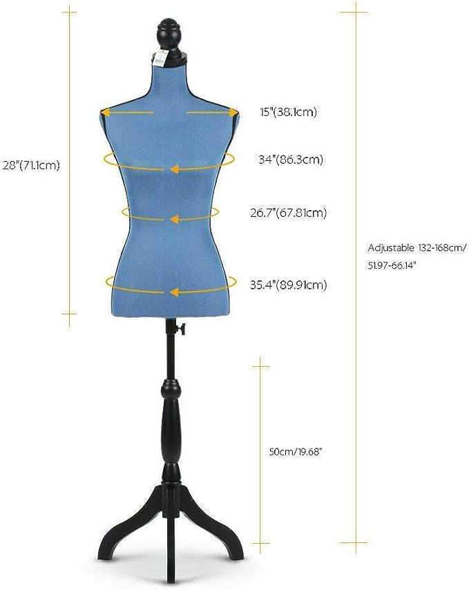 ikayaa hembra Torso cuerpo maniqu/í vestido de forma pantalla con tr/ípode de madera cuerpo tama/ño