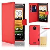 32nd® Book wallet PU leather case cover for HTC One X + screen protector, cleaning cloth and touch stylus - Red