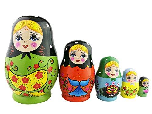 Winterworm Set of 5 Nesting Dolls Matryoshka Russian Doll Popular Handmade Kids Girl Gifts Christmas Toy-Green Flower Egg Type by Winterworm