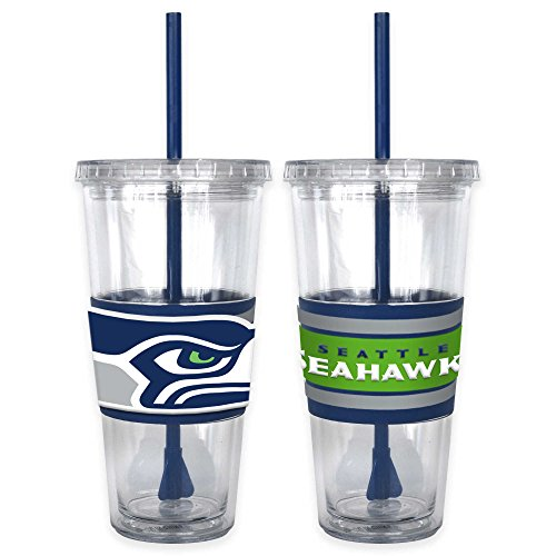NFL Seattle Seahawks Double Wall Hype 2-Piece 22 oz. Tumbler with Lid and Straw