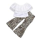 CSSD Children Kids Casual Outfits Clothes, Lace Off Shoulder Tops+Leopard Wave Pants (3T, White)