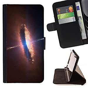 King Air - Premium PU Leather Wallet Case with Card Slots, Cash Compartment and Detachable Wrist Strap FOR Samsung Galaxy G360 G3608 G3606- Space Night Nebula